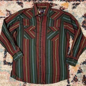 Vintage Panhandle Slim Striped Button Snap Shirt